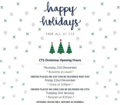 CTS Christmas Opening Hours
