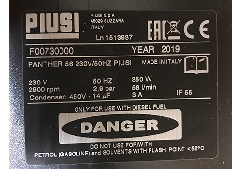 Piusi Pump Label