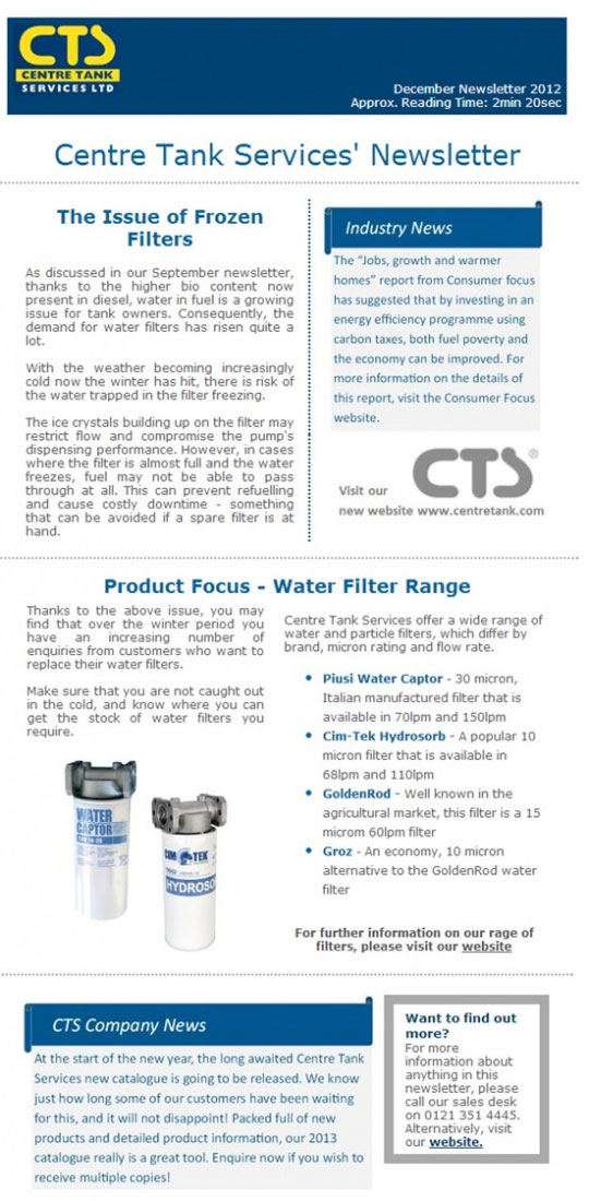 Fuel Tank Filter Newsletter